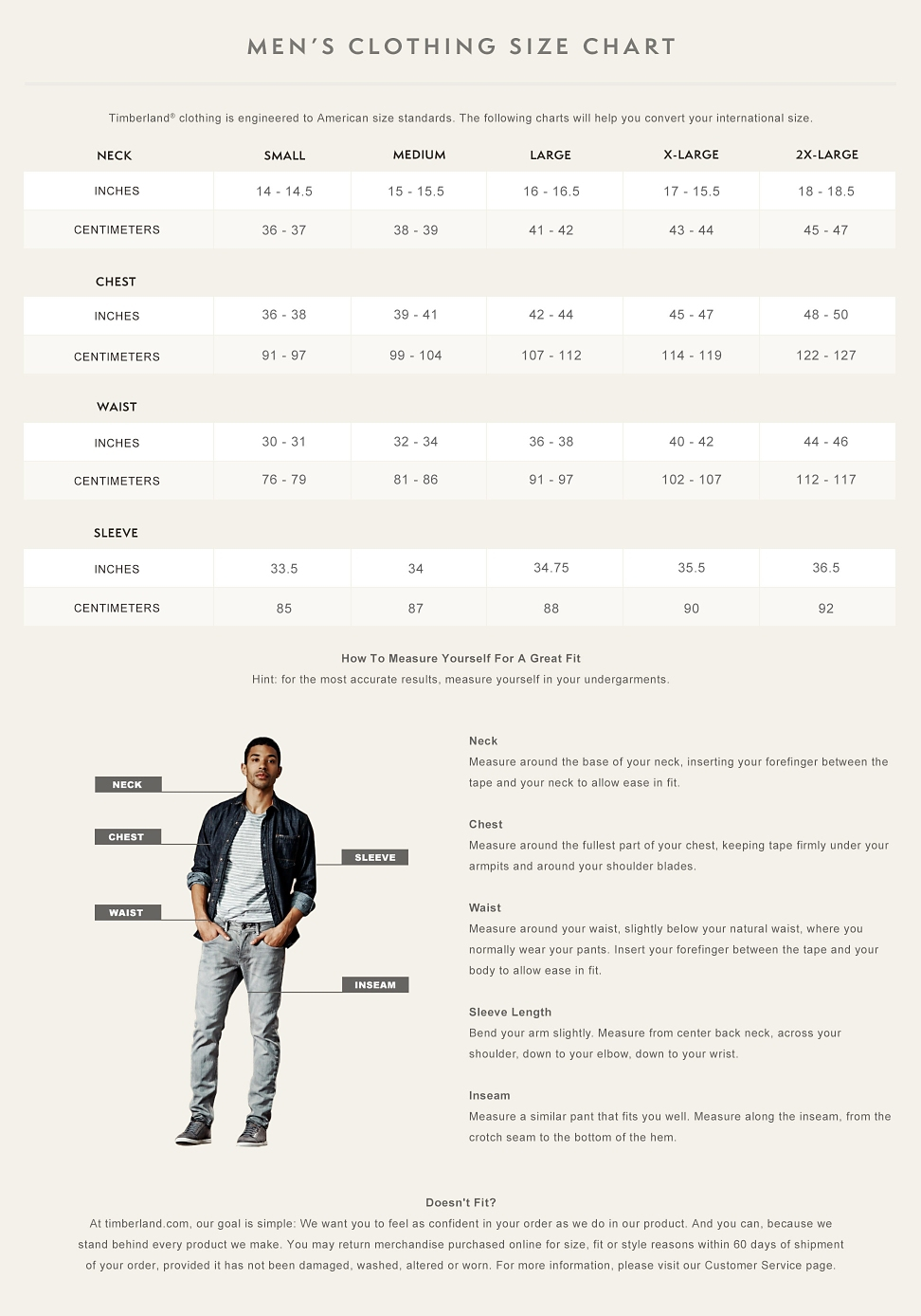 Mens clothing size chart timberland mens clothing size chart nvjuhfo Choice Image